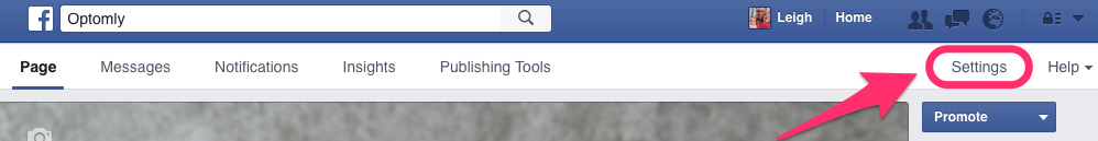 Where to find Facebook Page Settings
